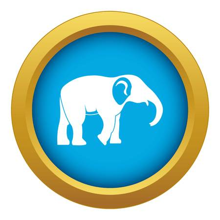 Elephant icon blue vector isolated