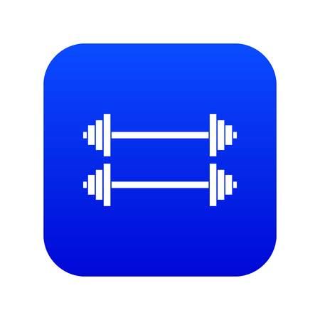 Two barbells icon digital blue for any design isolated on white vector illustration