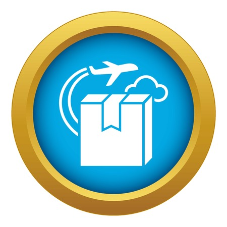 Plane delivery box icon blue vector isolated on white background for any design