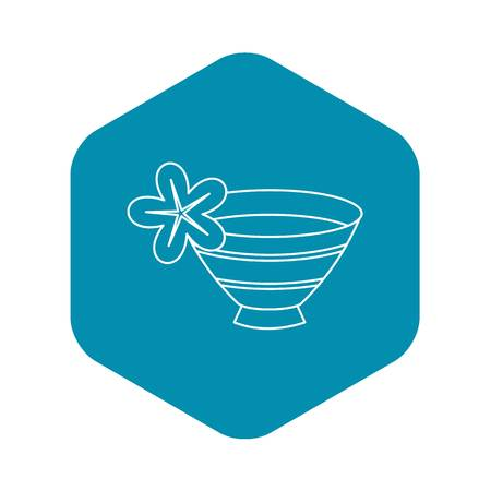 Bowl with water for spa icon. Outline illustration of water for spa vector icon for web design