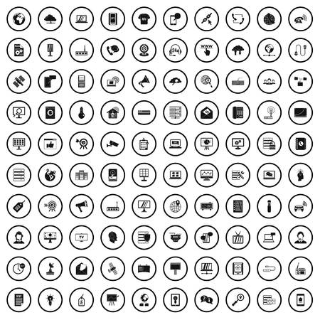100 telecommunication icons set, simple style