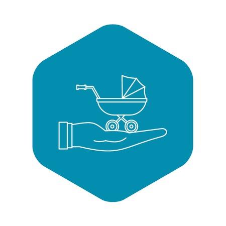 Symbol für den Schutz des Kinderwagens. Umreißen Sie die Illustration des Vektorsymbols für den Kinderwagenschutz für Webdesign