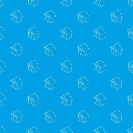 Museum building pattern vector seamless blue repeat for any use