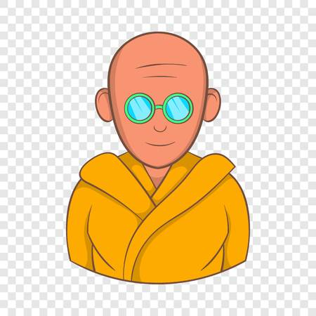 Indian monk in sunglasses icon in cartoon style on a background for any web design Çizim