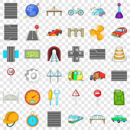 Bridge road icons set. Cartoon style of 36 bridge road vector icons for web for any design