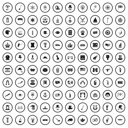 100 top hat icons set in simple style for any design vector illustration