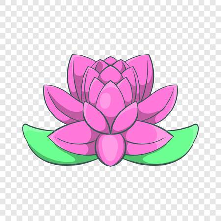 Pink lotus flower icon in cartoon style on a background for any web design