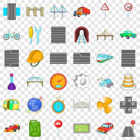 Rail bridge icons set. Cartoon style of 36 rail bridge vector icons for web for any design Imagens - 118481038