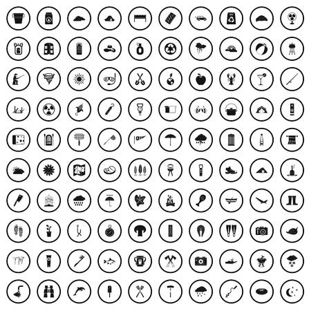 100 tourist camp icons set in simple style for any design vector illustration