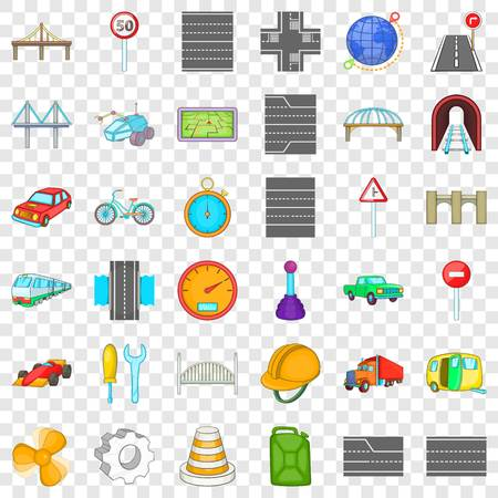 Speed road icons set. Cartoon style of 36 speed road vector icons for web for any design