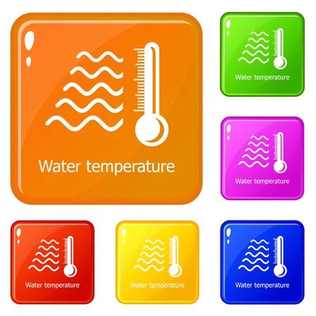 Water temperature icons set collection vector 6 color isolated on white background