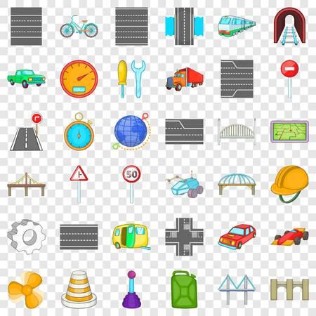 Bridge under tunnel icons set, cartoon style