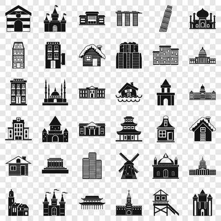 Building icons set. Simple style of 36 building vector icons for web for any design