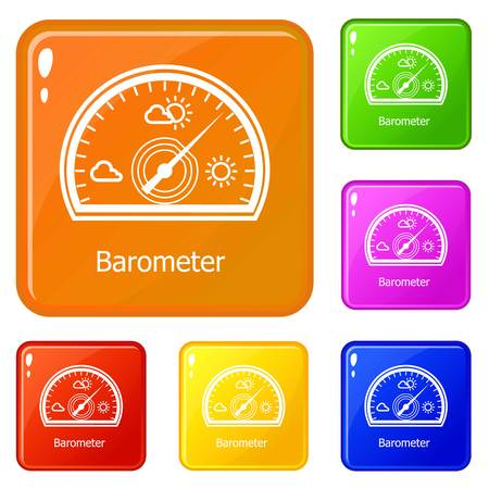 Barometer icons set vector color