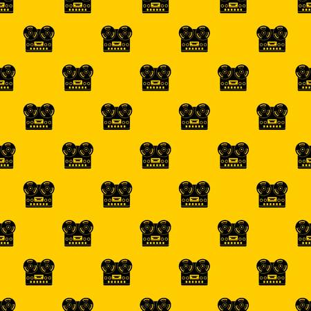 Retro tape recorder pattern seamless vector repeat geometric yellow for any design