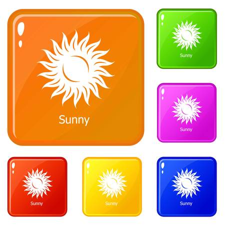 Sunny icons set vector color