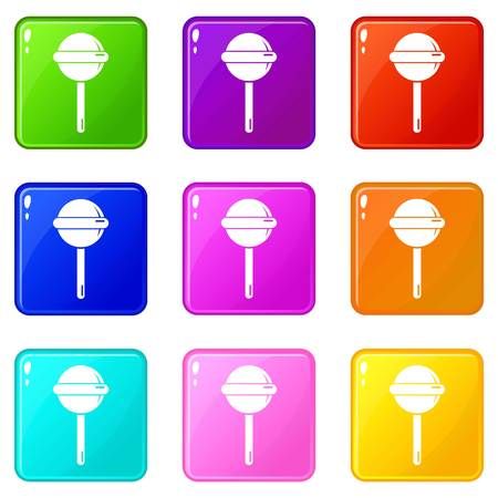 Round lollipop icons set 9 color collection isolated on white for any design