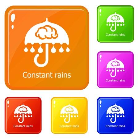 Constant rain icons set vector color