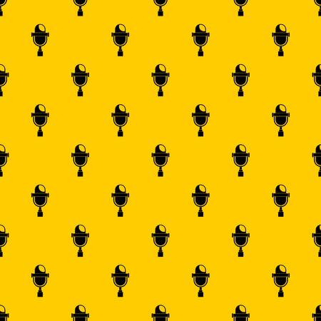 Retro microphone pattern seamless vector repeat geometric yellow for any design
