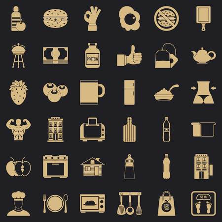 Breakfast icons set, simple style Stock Illustratie