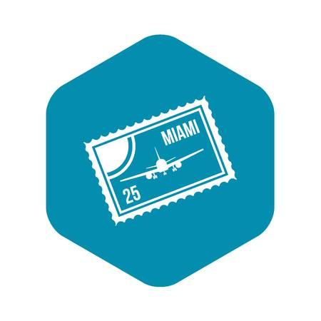 Stamp with plane and text Miami inside icon