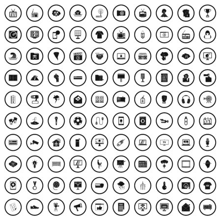 100 TV icons set, simple style Stock Vector - 130675121