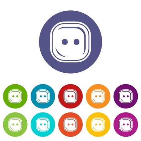 Craft button icons color set vector for any web design on white background