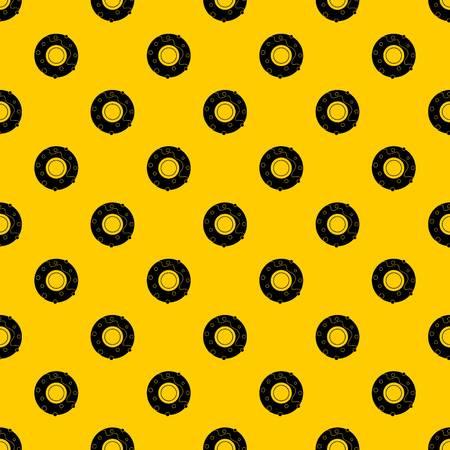 Delicious donut dessert pattern seamless vector repeat geometric yellow for any design Ilustração