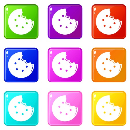 Bite biscuits icons set 9 color collection isolated on white for any design