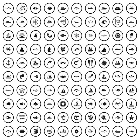 100 underwater icons set in simple style for any design vector illustration Illustration