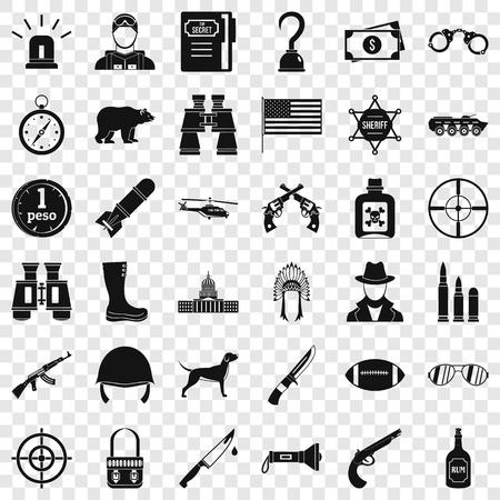 Gun icons set, simple style