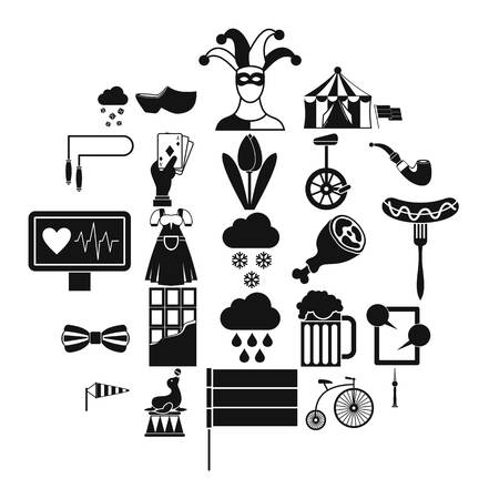 Circus training icons set. Simple set of 25 circus training vector icons for web isolated on white background