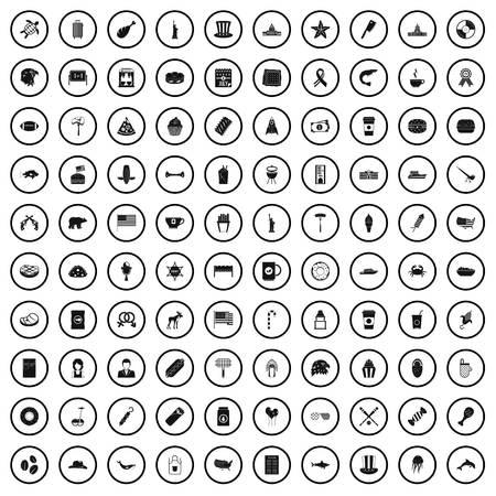 100 USA icons set in simple style for any design vector illustration Ilustração