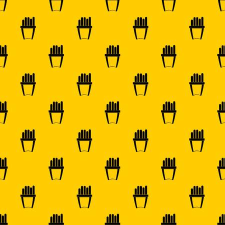 Portion of french fries pattern seamless vector repeat geometric yellow for any design
