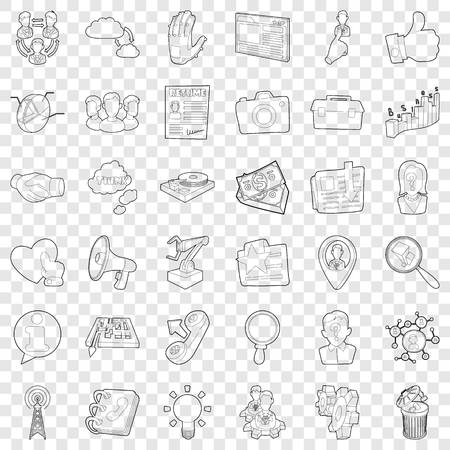 Business icons set, outline style