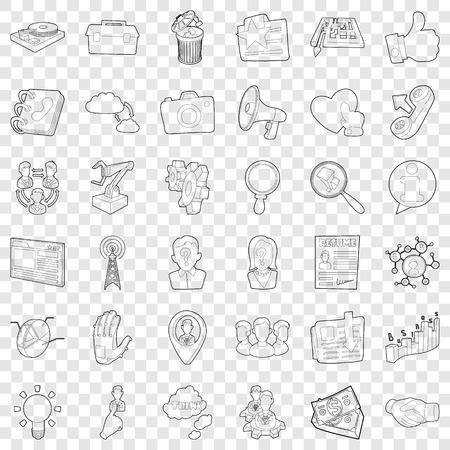 Businesswoman icons set, outline style