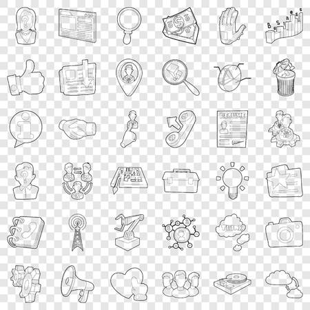 Hard business icons set, outline style