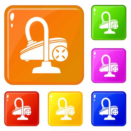 Vacuum cleaner icons set collection vector 6 color isolated on white background