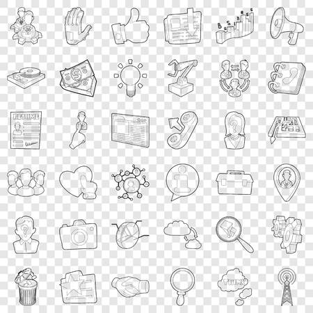 Good business icons set, outline style