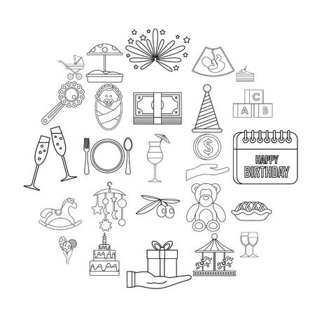 Party for children icons set. Outline set of 25 party for children vector icons for web isolated on white background