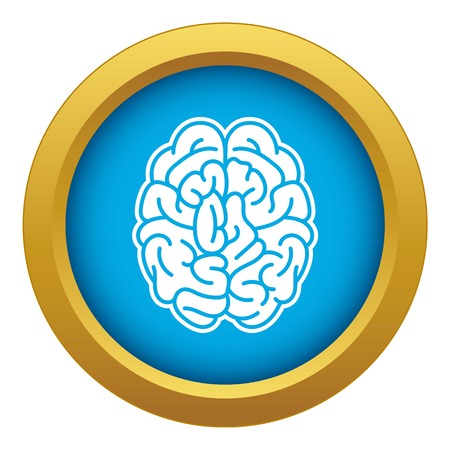 Brain mind icon blue vector isolated on white background for any design