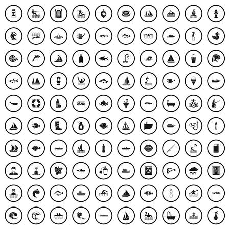 100 water icons set in simple style for any design vector illustration