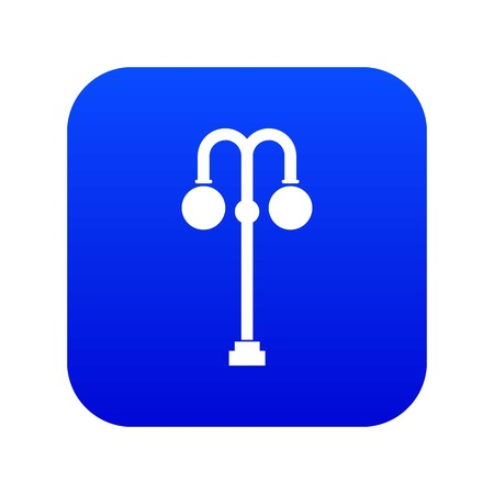 Street lamp icon digital blue for any design isolated on white vector illustration Illustration