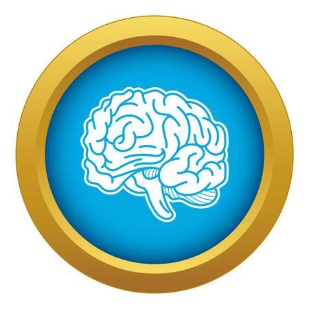 Genius brain icon blue vector isolated Illustration