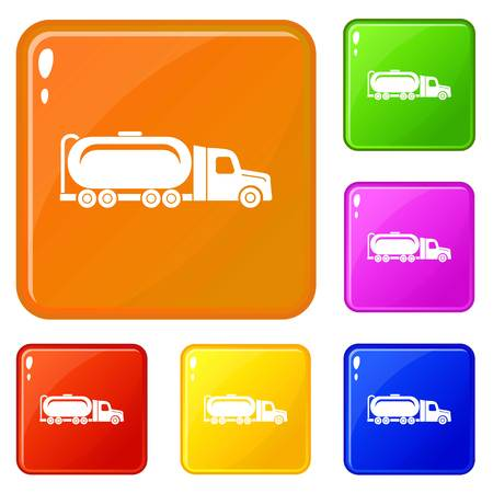 Truck oil icons set collection vector 6 color isolated on white background