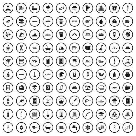 100 water supply icons set in simple style for any design vector illustration