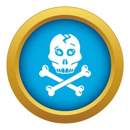 Skull bone icon blue vector isolated on white background for any design