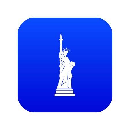 Statue of liberty icon digital blue
