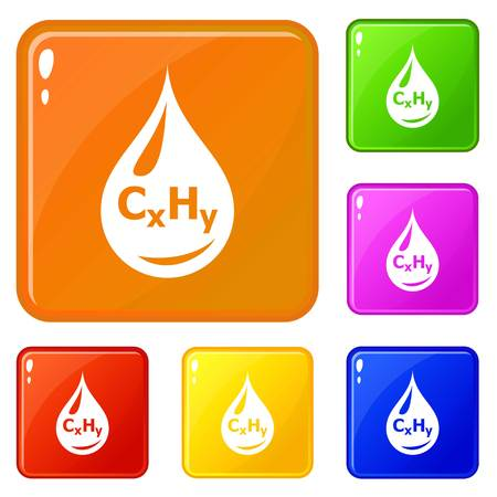 Drop oil icons set collection vector 6 color isolated on white background