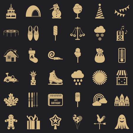 Nice party icons set, simple style